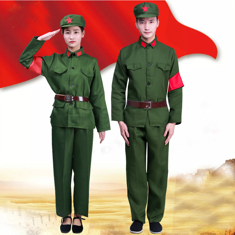 Army Uniform Red Army Of China Performance Costume Vintage Military Uniform Red Guards Women Solider Clothing Photography