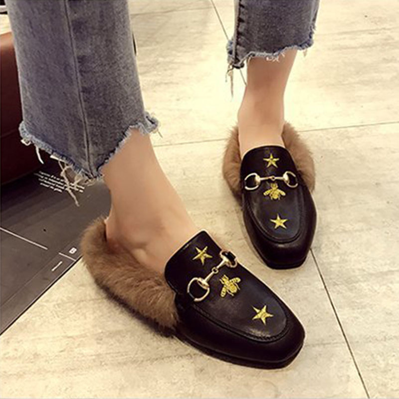 Bailehou Flats Casual Woman Slippers Fashion Fur Women Shoes Slip-On Mules Female Loafers Shoes Outside Slides Ladies Slippers рубашка джинсовая boss hugo boss boss hugo boss bo456emahth0