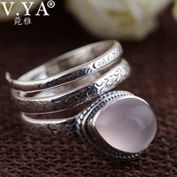 V.YA Nature Stone Adjustable Solid Silver Rings For Women Real Pure 925 Sterling Silver Red Corundum Stone Finger Ring