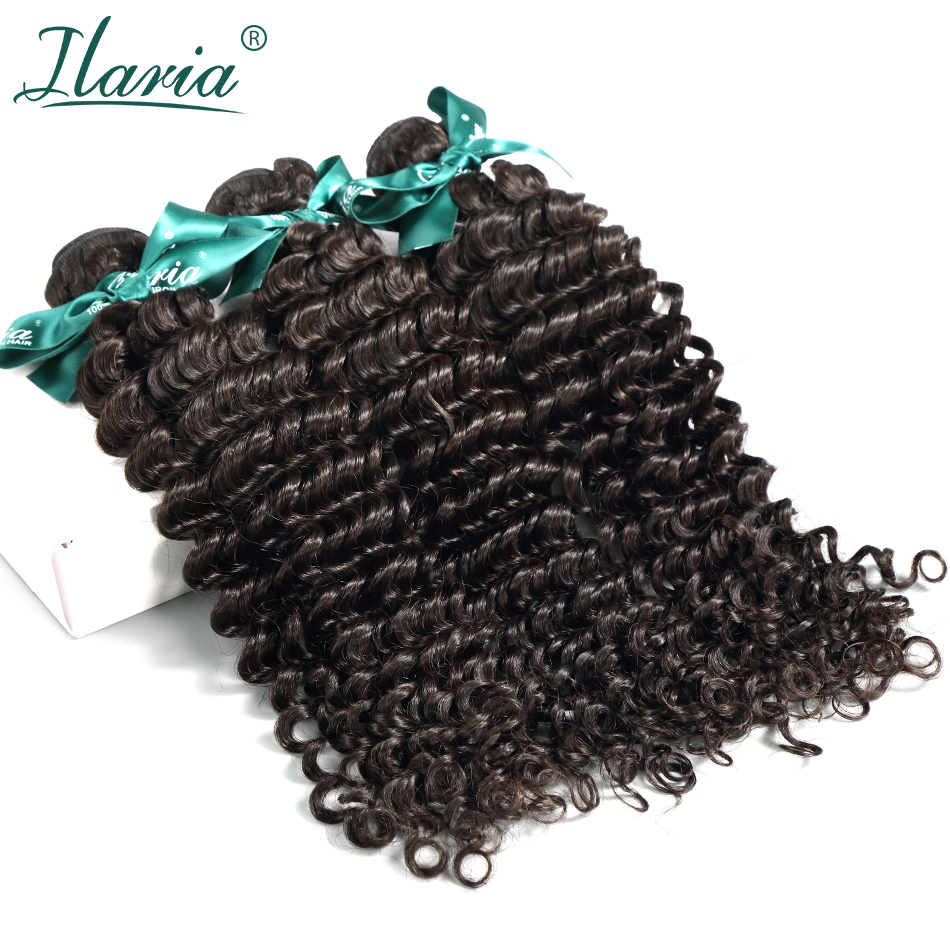 ILARIA HAIR Brazilian Curly Human Hair Deep Wave 3 Bundles Unprocessed Remy Human Hair Weaves Bundles Natural Color Hair Weft