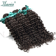 ILARIA HAIR Brazilian Curly Human Hair Deep Wave 3 Bundles Unprocessed Remy Human Hair Weaves Bundles Natural Color Hair Weft(China)