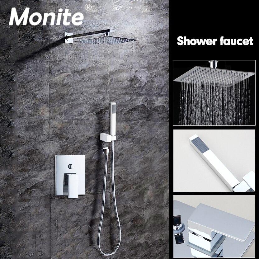 8 Inch Wall Mounted Rain Shower Set Luxury Square Shower Head Shower Set with Hand Shower