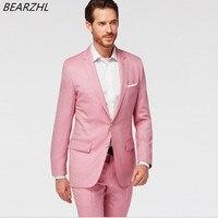 Мужской строгий костюм для свадьбы смокинги розовый одежда жениха 2019 классические костюмы шерсти кровоточить