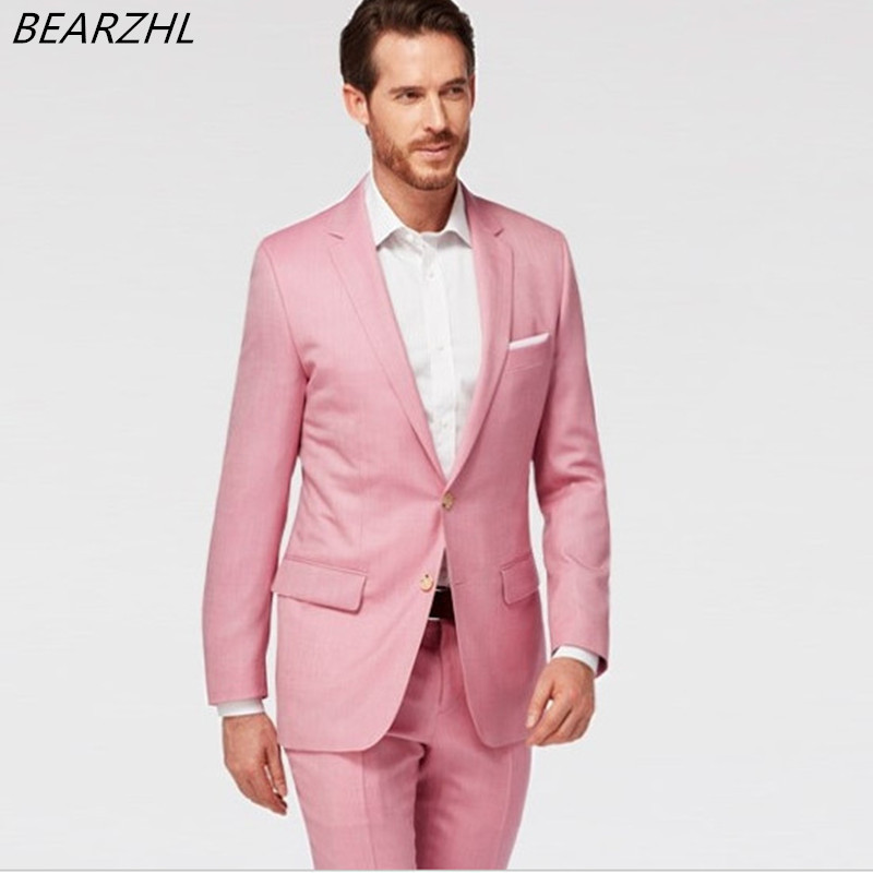Smoking para la boda rosada hombres slim fit traje clásico formal ...