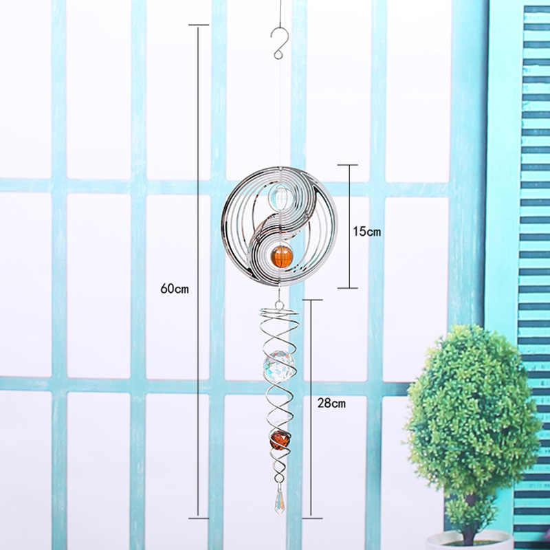 3D โลหะหมุน Wind Chime Whirl การเคลื่อนย้ายหมุนแขวนตกแต่งบ้านตกแต่งหน้าต่าง