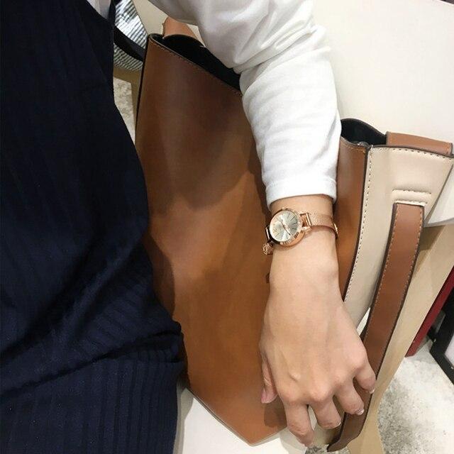 2018 New Fashion Women Watches Exquisite Rose Gold Stainless steel Quartz Watch Ladies Bracelet Watch Relogio Feminino Hot Sale