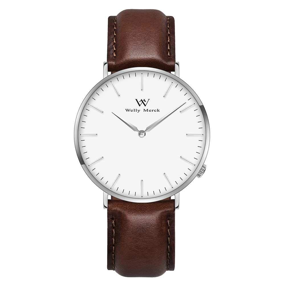 Welly Merck Men's Casual Watch With Leather Strap цена и фото