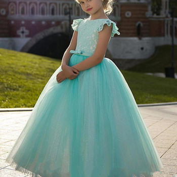 Elegant Princess Dress with Belt Spaekly Tulle Flower Girl Dress For Special Occasion Girls Pageant Gowns Lace Up Back Vestidos