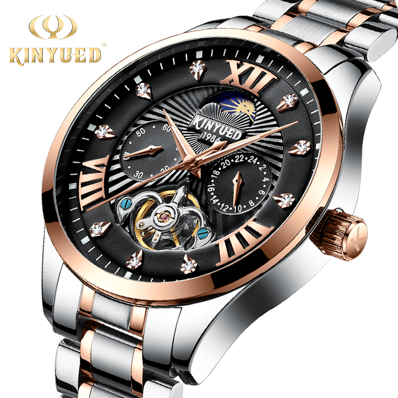 KINYUED Business Automatic Watches Men Luxury Brand Diamond Mechanical Skeleton Watch Mens Moon Phase Calendar horloges mannenKINYUED Business Automatic Watches Men Luxury Brand Diamond Mechanical Skeleton Watch Mens Moon Phase Calendar horloges mannen