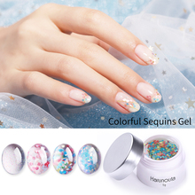 Harunouta 5g Floral Nail Gel Sequins White Holographic Pailletten Polish Soak Off Art UV Varnish for Manicure
