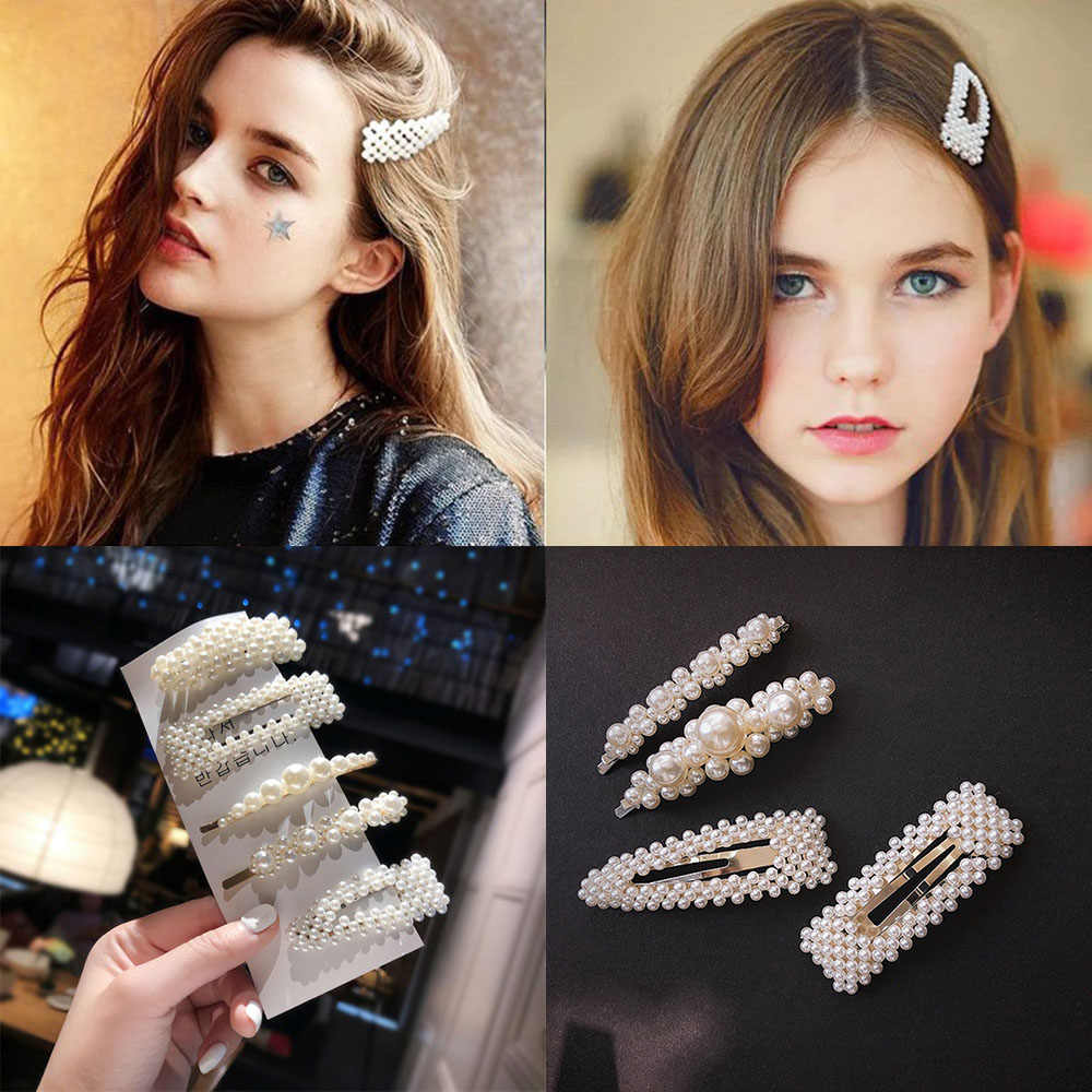 2019 New Fashion Pearl Hair Clips for Women Girls Elegant Korean Design Snap Barrette Stick Hairpin Set Hair Styling Accessories