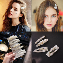 2019 New Fashion Pearl Hair Clips for Women Girls Elegant Korean Design Snap Barrette Stick Hairpin Set Styling Accessories