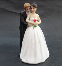 Free shipping wedding favor wedding cake topper Yes to the Rose- Custom Couple Figurine