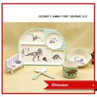 5Pcs/Set Bamboo fiber Baby Dishes Tableware Dinnerware Set Baby Feeding Set Tableware For Children