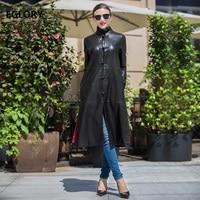 Best Quality Women Leather Long Coat 2018 Autumn Winter Women 100%Real Sheepskin Genuine Leather Jacket Casual Leather Outwear
