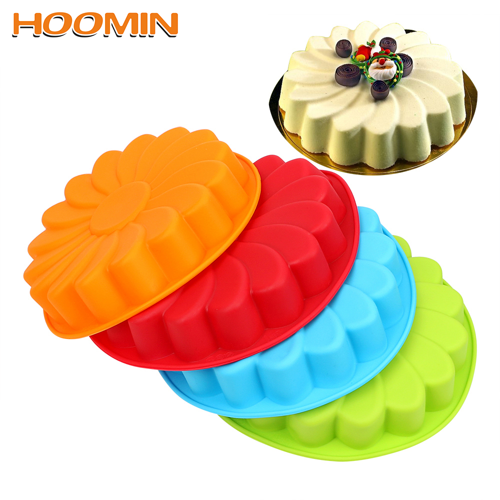 HOOMIN DIY 3D Sunflower Form Fondant Cake Silicone Mold Cake Decorating Tool For Baking Cookie Mould Kitchen Pastry image