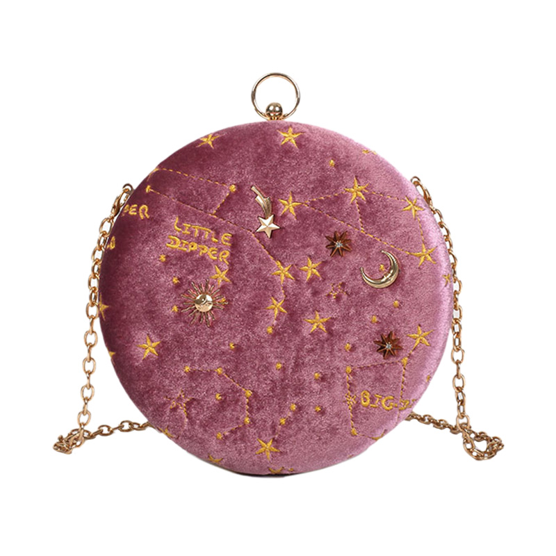 Starry Sky Circular Fashion Suede Shoulder Bag Chain Belt Women'S Crossbody Messenger Bags Ladies Purse Female Round Handbag