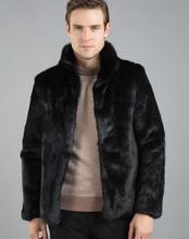 Winter mens faux rabbit fur coats thicken warm medium long overcoat leather jackets and masculino chaqueta hombre
