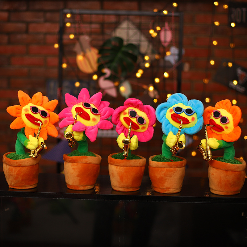 Enchanting Flower Saxophone Sun Music Dancing Singing Electric Plush Dancing Pots Simulation Funny Toys for Kids Childrens Gift