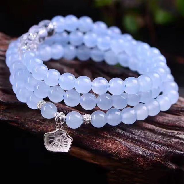 Joursneige Blue Crystal Bracelets Round Beads Lucky 925 Silver Flower Pendant For Women Bracelet Multilayer