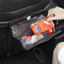 LED Leather Car Trash Bag Storage Hanging Garbage Seat Rear Box Automobile Interior Supplies Styling