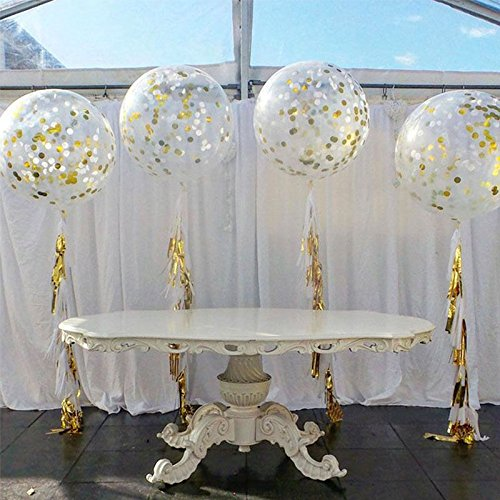 18 inches transparent bubble balloons with golden paper confetti 18 inches transparent bubble balloons with golden paper confetti dots for wedding decorations new year party junglespirit Images