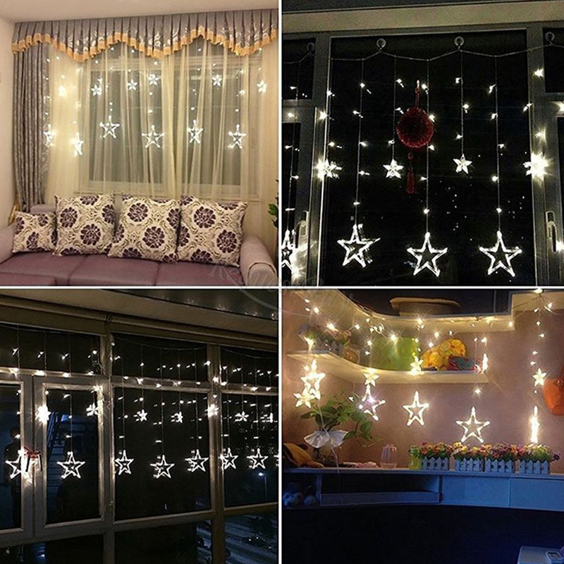 4M Star Curtain Star LED String Light Waterproof Christmas Fairy Light Romantic Wedding Festival Party Garden Decoration Lamp