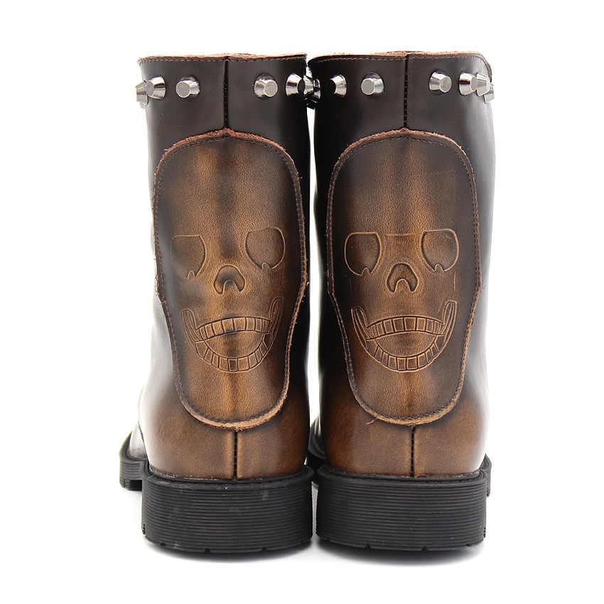 BIMUDUIYU Klassische Ankle Stiefel Trendy Motorrad Männer Paar High Cut Niet Schnee Stiefel Winter Warme Flache Schuhe Russischen Stil