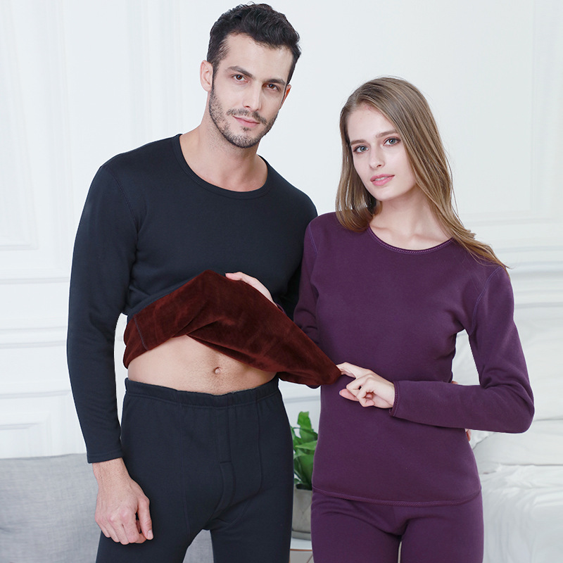 Thermal-Underwear Pajamas Layered-Clothing Velvet Long-Johns Second Warm Thick Winter