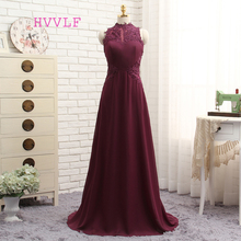 HVVLF Purple 2017 Prom Dresses A-line High Collar Floor Length Chiffon Lace Long Prom Gown Evening Dresses Evening Gown