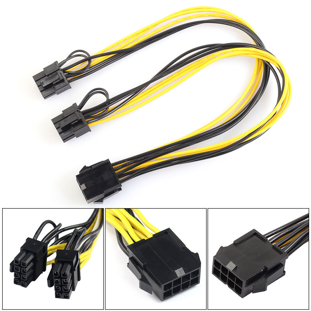 1PC 8 Pin Feamle to Dual 8 Pin Male PCI Express Power Converter Cable CPU Video Graphics Card 8Pin to Dual 8Pin PCIE Power Cable vg 86m06 006 gpu for acer aspire 6530g notebook pc graphics card ati hd3650 video card