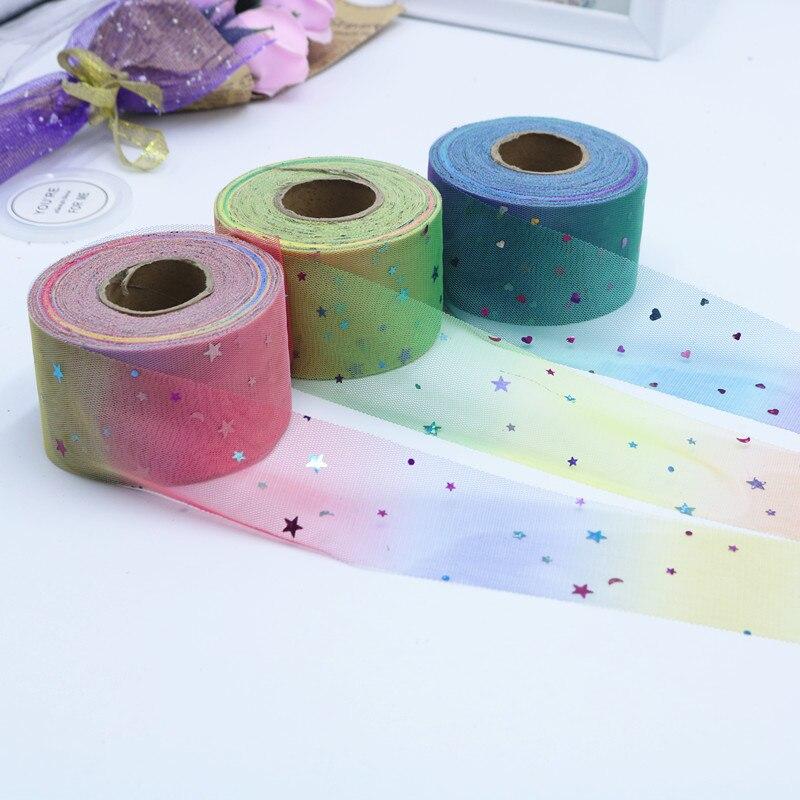 50 jardas/Lote 6 centímetros Confete Estrela Glitter Tule de Malha Lantejoula Tulle Rolo Spool Tutu Macio Chuveiro de Bebê DIY decoração de Aniversário de casamento