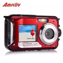 Фотография AMKOV W599 Professional 24 MP Life Waterproof Digital Camera With Front & Rear Dual-screen Self-timer Pocket Camera Mini Camera