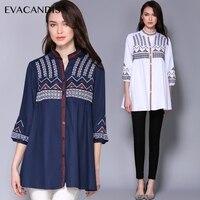 2018 Spring Summer V Neck Embroidered Vintage Retro Ethnic Elegant Long Shirt Blouse Top White Blue New Brand Cotton Plus Size