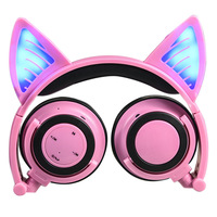 Cute Cartoon Wireless Bluetooth Cat Ear Headphone Microphone LED Luminous Foldable Rechargeable Gaming Headset for PC Children