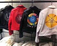 High quality designer Tarot moto&biker Jackets 2018 spring fashion women leather jackets Chic short coats S220