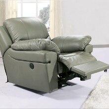 Антикварное Европейское лаконичное креативное кресло из натуральной кожи, одноместный диван для гостиной, вращающееся кресло, функциональное кресло