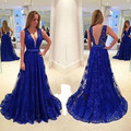 MDBRIDAL Royal Blue Backless Prom Dress A-line Deep V-neck Sexy Lace Party Dresses Custom Size