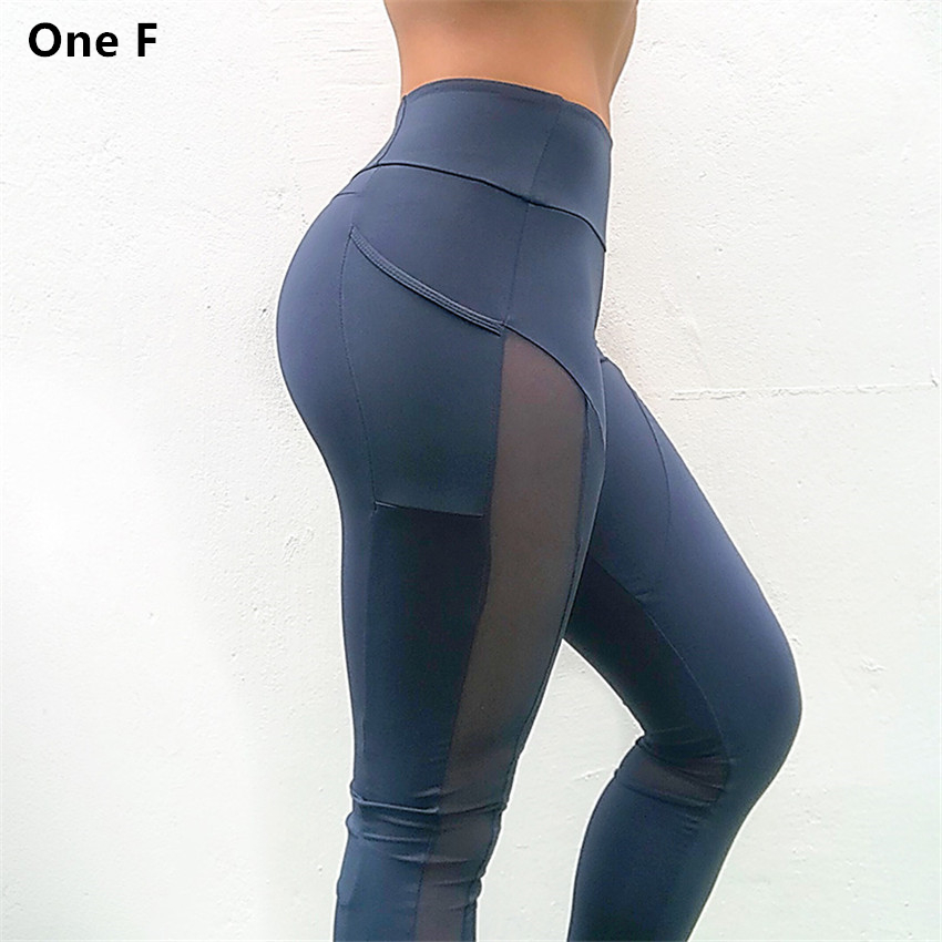 Women's High Waist Yoga Pants With Side Pocket Solid Mesh Sport Leggings Push Up Booty Fitness Clothing Sleek Aspire Legging