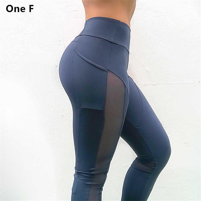 4f42db50fee8b Women's High Waist Yoga Pants With Side Pocket Solid Mesh Sport Leggings  Push Up Booty Fitness