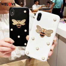 Luxury Leather soft phone case for iphone 7 3D fashion diamond Bee Pearl classic cover 6 6s 8 plus X XR XS Max