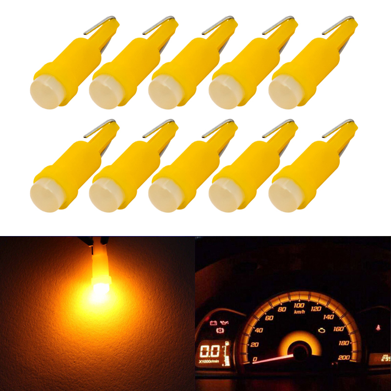 Lot 10 T5 B8.5D Instrument Panel Led T5 Wedge Car Led Dashboard Courtesy Light Bulbs Lamp Yellow Car Styling COB Led Replacement