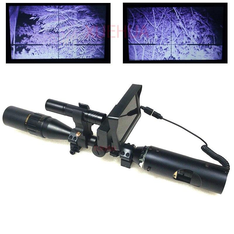 Chaude Nouveau En Plein Air Chasse Optique Sight Lunette de Tir lumineux Tactique lunette de visé vision nocturne avec LCD et IR lampe de Poche