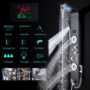 Image 3 - חדש יוקרה שחור/מוברש אמבטיה ברז מקלחת LED מקלחת פנל עמודת אמבטיה מיקסר ברז עם יד מקלחת טמפרטורת מסך