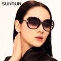 SUNRUN Mulheres Óculos De Sol Grande Quadro Mulheres de Design Da Marca Óculos de Sol UV400 Eyewear oculos de madeira 9735