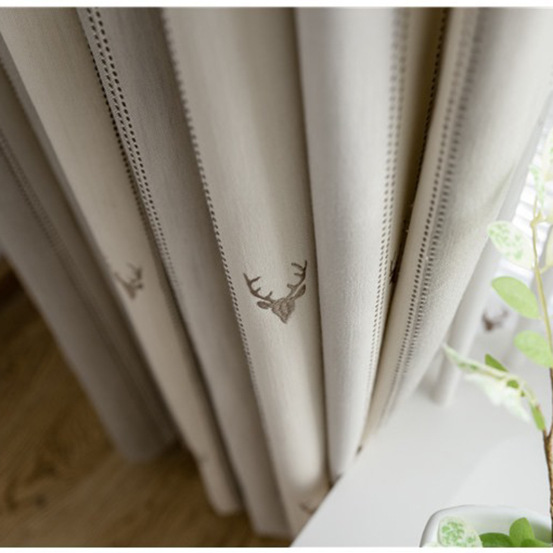 American Deer Embroidered Cotton Linen Curtains For Living Room Luxury Stripe Curtain For Bedroom Children Window Treatments