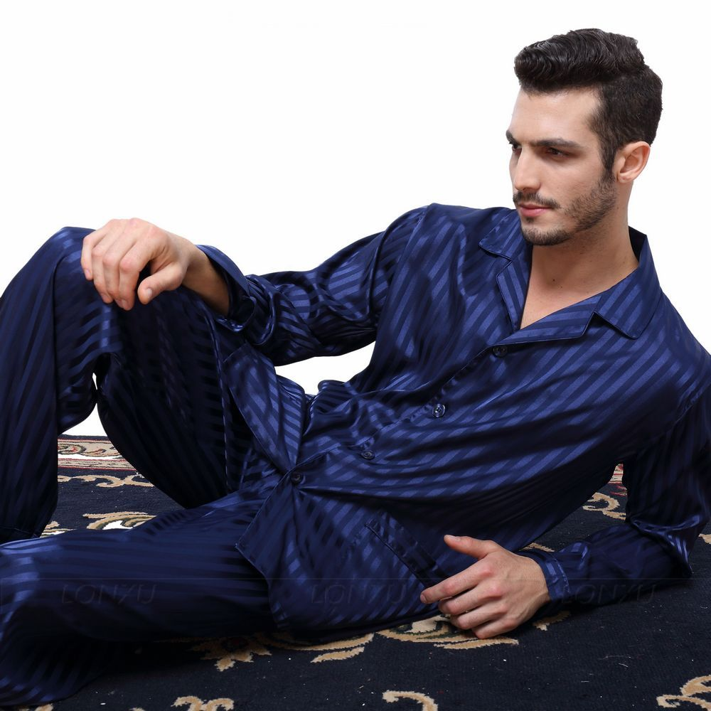 Mens Silk Satin Pajamas Set  Pajama Pyjamas PJS  Sleepwear Set Loungewear  S,M,L,XL,2XL,3XLL,4XL Plus _Free Shipping