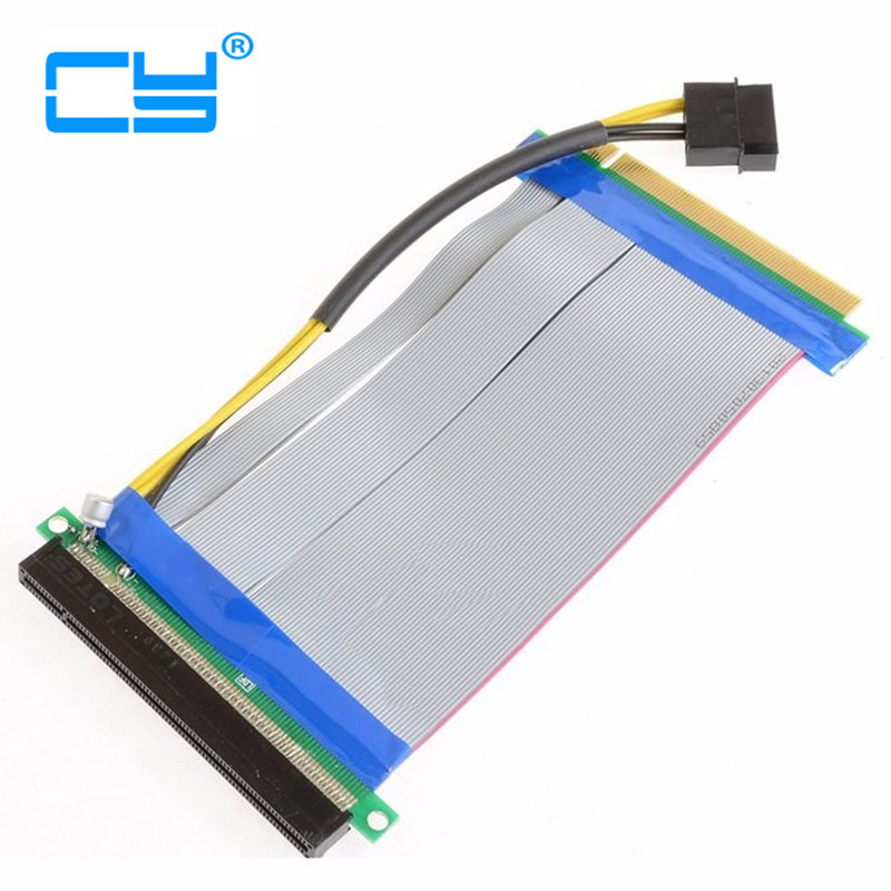 Riser PCI-E x16 pcie pci Express 16X to 16x Riser Extender Card with Molex IDE Power & Ribbon Cable adapter 20cm pci e to