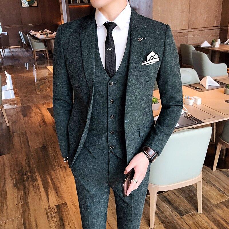 Hommes costume veste avec gilet et pantalon affaires mariage Banquet hommes costume 3 pièces ensemble taille S-4XL hommes costumes blazer
