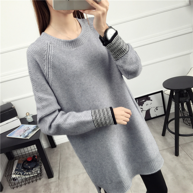 KINE PANDA Autumn Maternity Dresses Winter Long Sleeve Striped Knitted Pregnant Clothes Dresses For Pregnancy Woman